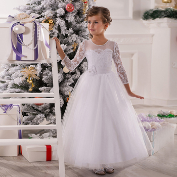 Kids Beauty Pageant Dresses White Long Sleeves Ball Gown O-Neck Lace Zipper Flower Girl Dress Vestido De Daminha Para Casamento