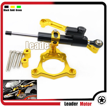 For KAWASAKI Z800 2013-2016 Motocrycle Aluminum Street Bike Steering Damper Mounting Kit Stabilizer Adjustable Gold