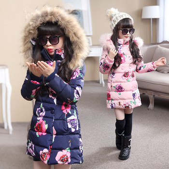 Children girls winter jacket long section floral printed down parkas hooded cotton padded down jacket warm kids outerwear coat