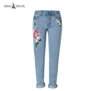2017 spring new Women sweet floral embroidery pastoralism denim jeans pockets ankle length pants ladies casual trouse TOP118