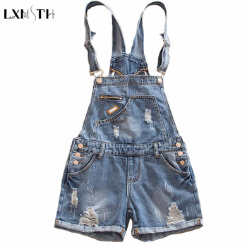 Summer New jumpsuits For Women 2017 Loose Hole Cuffs Suspender Shorts Slim Thin Pocket Woman Straight Casual jumpsuit Plus Size
