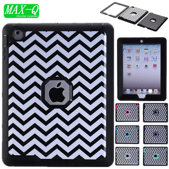 Shockproof Heavy Duty Wave Case for ipad 3 TPU Hard Case for ipad 4 PC Cover for Apple iPad 2 3 4 Screen Film+Stylus Pen