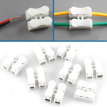 100pcs Cable Connectors Wire Connectors Splice With Clamp Terminal T10A 220V 2 Pin Quick Wire White Wiring Adaptor Terminal