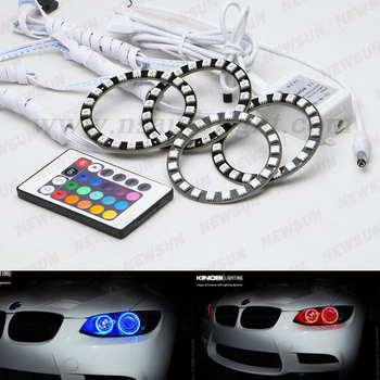 High brightness factory 4pcs 75mm 21 LED RGB Halo Ring Remote Control led auto Angel Eyes Light 75mm rgb Headlight 12V DC
