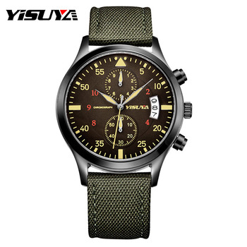 Top Brand YISUYA Luxury Men Chronograph Date Watches Quartz-watch Nylon Leather Men's Sport Army Wrist Watch Waterproof relojes
