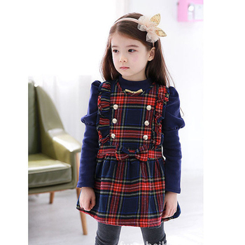 2017spring baby girls plaid sleeveless dress kids clothes princess bow dress child costumes children clothing Q215