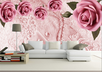 European bedroom 3D stereo non-woven rose large TV sofa background wall girls room wedding room mural wallpaper