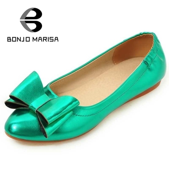 BONJOMARISA Bowtie Knot Women Flats Candy Color Pointed Toe Ballet Stylish Flat Shoes Size 34-39 Gray Pink Red Gree Gold Silver