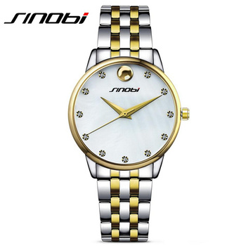 New SINOBI China Brand Men Quartz Watch Sliver Men's Steel Fashion Business Wrist Watches Argent Male Yellow Gold Wristwatch