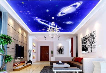 Custom photo 3d wallpaper ceiling mural Non-woven picture Blue sky planet decor painting 3d wall murals wallpaper for walls 3 d