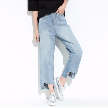 ISHINE 2017 NEW Boyfriend jeans women's jeans cool Washed the irregular burr straight nine pants Ankle-Length loose vintage blue