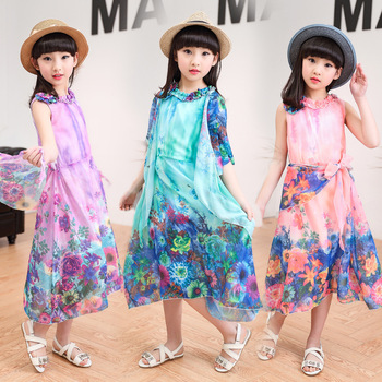 Fashion Flower Girl Dress Long Dress 2017 Summer Children Child Princess Dresses Girls Clothes Costume Clothing Size 4-16