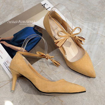 2017 Spring Fringe High Heel Shoes 7.5 CM Pointed Toe OL Shallow Mouth Bow Pumps Young Lady Spring Tassel Shoes