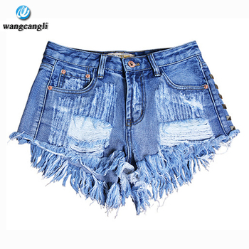 Vintage Rivet High Waist Denim Shorts Women Tassel Ripped Loose Short Jeans Punk Sexy Summer Fashion short jeans feminina Pants