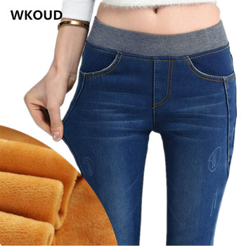 WKOUD Women Jeans 2017 Winter Warm Gold Fleeces Denim Pants High Waist With Elastic Thicken Pencil Pants Casual Trousers P8004