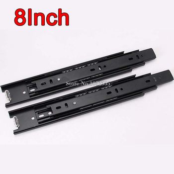 32Pairs/lot 8inch 3 Fold Telescopic Drawer Runners Groove Ball Bearing Slide Rails Smoothly & Mute E178