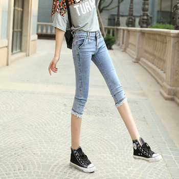 Womens summer fashion casual cropped denim pencil pants stylish embroidered flares lace patchwork calf-length jeans trousers