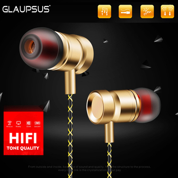 GLAUPSUS GJ01 In-Ear 3.5mm Super Bass Microphone Earphones Earplug Stereo Metal HIFI In Ear Earbuds for iPhone Mobile Phone