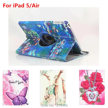 360 Degree Rotating Leather Case Cover for Apple Ipad 5 9.7inch for ipad Air 1 with Retina Smart Colorful Painting Stand Cover