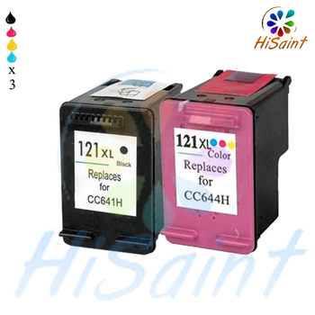 2017 New [Hisaint] 3 LOTS for HP 121 XL Black CC641H&Color CB644H Refilled ink Cartridge,Multi-pack