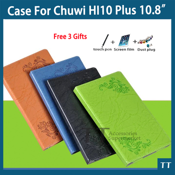 For Chuwi Hi10 plus case Pu Leather Case For CHUWI Hi10 plus 10.8 Inch Tablet PC + free 3 Gifts