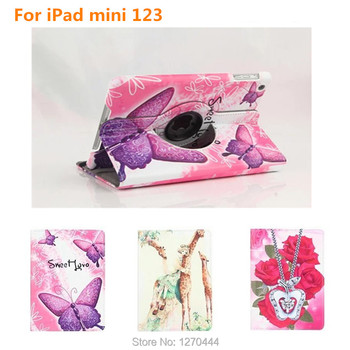 360 Degree Rotating Leather Case For iPad mini2 Stand Case For IPAD mini 1 2 3 with Retina Smart Colorful Painting Stand Cover