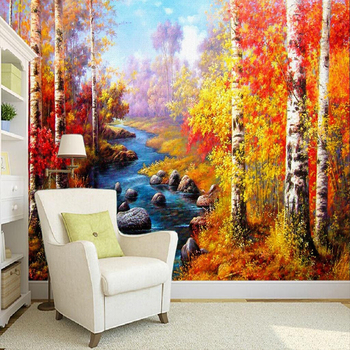 Custom 3D Wall Mural Wallpaper Birch Forest Oil Painting Bedroom Living Room Background Eco-Friendly Non-woven Wallpaper Decor