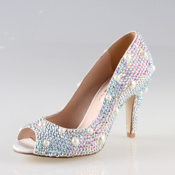 Handmade sewed pearls with AB crystal rhinestone sparkling woman shoes open peep toe bridal wedding party evening dress shoes