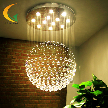 Crystal chandelier round led dining room lamp double staircase line bedroom modern warm crystal Lamps