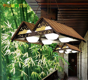 Restaurant chandelier Chinese style retro tea room creative hotel lights solid wood living room restaurant bamboo lights CL