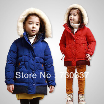 Winter new girl favors more pure color hooded winter jacket cotton-padded jacket children clothing