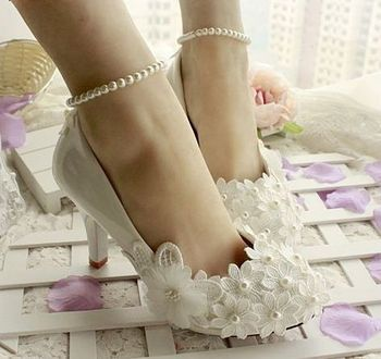 Wedding shoes ivory womens, ankle pearls bracelets woman stable ivory flower bridal shoes, custom handmade female party shoe
