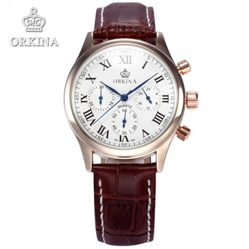 Orkina Brand Chronograph Rose Gold Case Japan Movement Coffee Leather Band Mens Wrist Watch Clock 2016 New Luxury Cool Horloges