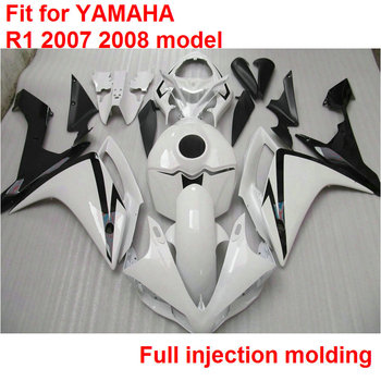 Fit injection mold fairings for Yamaha YZFR1 07 08 white black fairing kit YZF R1 2007 2008 HY31