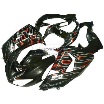 ABS fairing kit for Kawasaki ZX10R zx-10r 2006 2007 Ninja red & white flames 06 07 fairings xl08