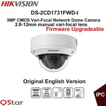 Hikvision Original English CCTV Camera DS-2CD1731FWD-I 2.8-12mm Manual lens 3MP Vari-Focal Dome IP Camera POE IP67 Upgradeable