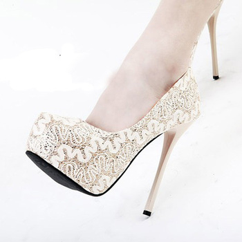 Sweetness Lace Super High Heel Shoes Round Toe Pump Gown prom Shoes Fashion Office Shoes Wedding Bridal Shoes