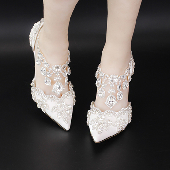 Custom Heels 5cm/7cm/9cm White/Red/Pink Rhinestones Foot Ring Women Wedding Shoes Thin Heels Bling Party Pumps Size EU34-42