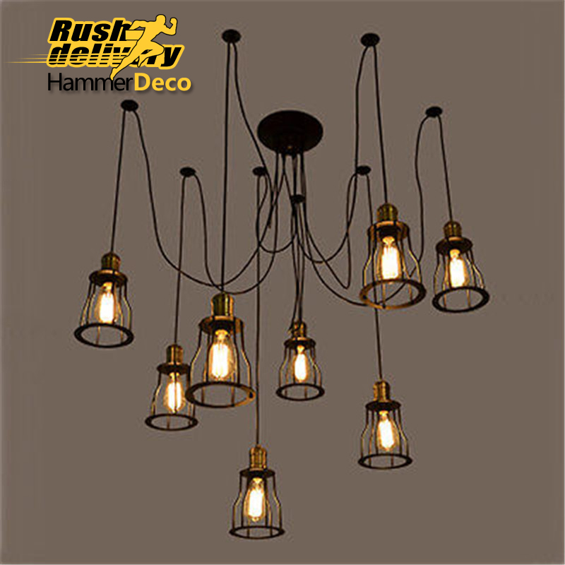 Iron bridge vintage pendent lamps for dining room hotel E27 led bulbs American style pendent loft light
