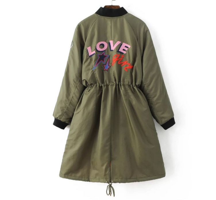 2016 Spring Autumn Women Embroidery Military Army Green Black long sections jacket Drawstring Patchwork Coat