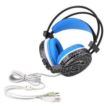 USB 3.5mm Wired Game Headset LED Crack Gaming Headphone Earphone w/ MIC For Computer PC Gamer