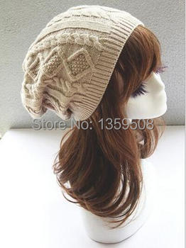 New Retail Women Winter hats Woolen knitted hat Twisted long section folds Girls wool Ski caps