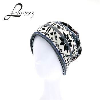 Lanxxy Fashion Print Knitted Hats for Women Bonnet Toucas Gorros Skull Winter Cap Women Beanies Hat and Scarf
