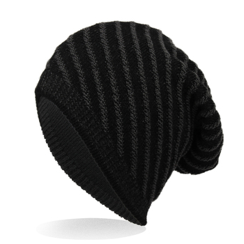 Unisex Thicken Fibres Knitted Hats Winter and Fall Warm Caps Black Gray For Women/Men