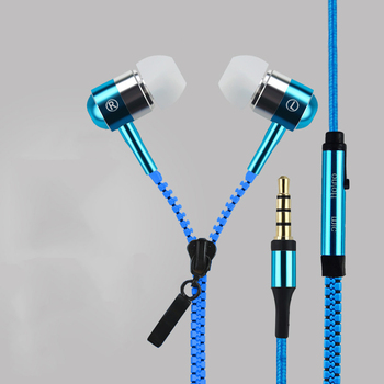 In-ear Metal Bass Zipper Earphone Sports Music Wired Earbud Headset With MIC 3.5mm Jack for Cellphone