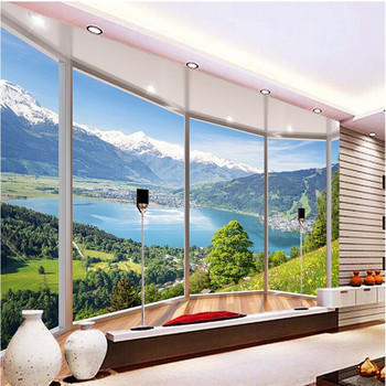 Wall Panel Wallpaper 3D Balcony Snowy Lake Landscape Background Modern Europe Mural for Living Room Large Painting Home Decor