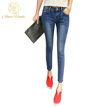 2017 Fashion Skinny Plus Size Jeans 25-32 Women's Vintage Elasticity For Woman Pencil Pant Mid Waist Trousers Lady femme Jean