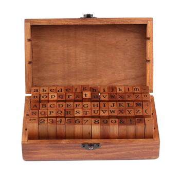 Big Sale 70pcs Vintage DIY Number And Alphabet Letter Wood Rubber Stamps Set With Wooden Box For Teaching And Play Games