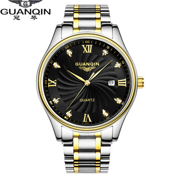2017 GUANQIN Quartz Watches Men Luxury Brand Big Dial Watches 100 m Waterproof Watches Fashion Casual Stainless Steel Men Clock