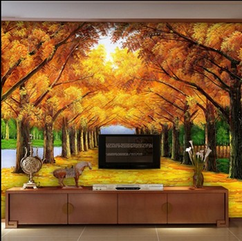 New Can be customized, large mural 3d wallpaper room golden maple trees fresco photo cafe wall paper sofa tv wall oil painting